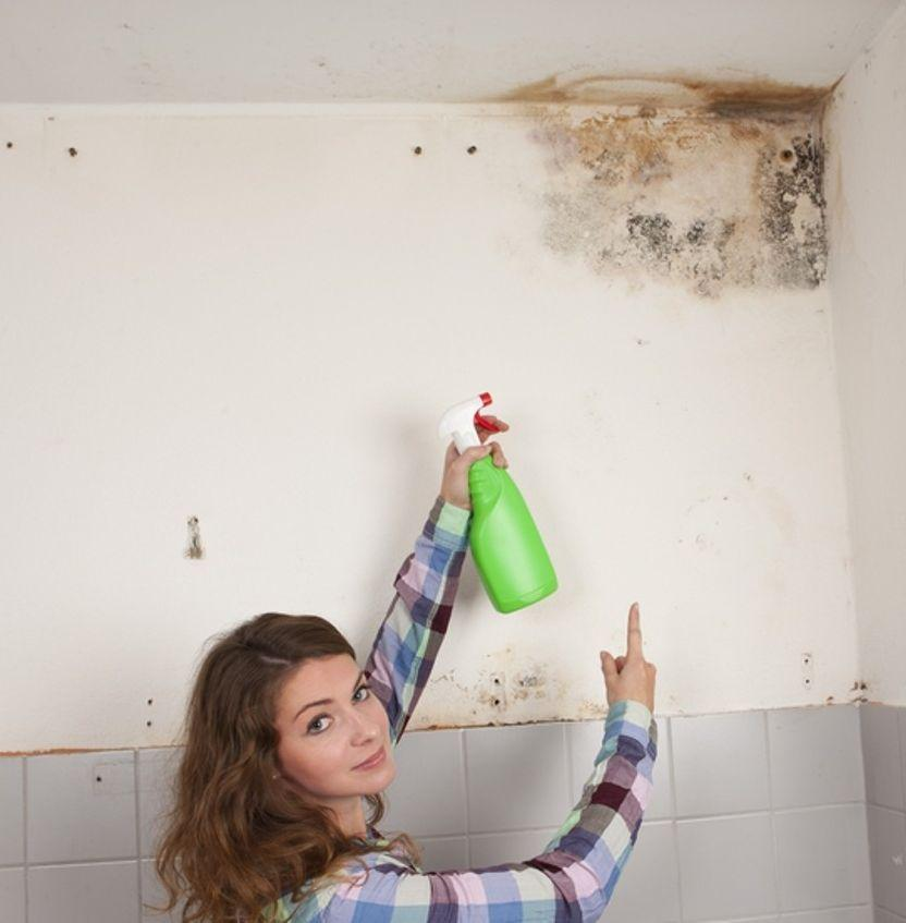 Как убрать плесень с потолка в ванной